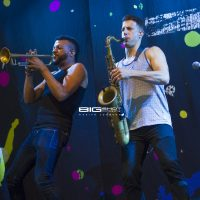 O•A•R horn section plays at Perfect Vodka Amphitheatre